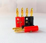 4MM Gilded Lantern-Shaped Plastic Charging Plug Stereo Speakers (1 + 1 black red)