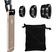 cheap -Universal Clip 180° Fish Eye Lens+Wide Angle Lens+Macro Lens 3-in-1 Camera Lens Kits for iPhone 6/6 Plus/5/4 and Others