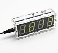 kit relógio de mesa de controle digital de luz display de sete segmentos de 4 dígitos DIY (luz amarela)