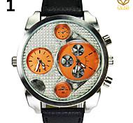 Мужская круглый циферблат случайные часы кожаный ремешок кварцевые часы двойной дисплей моды наручные часы (разных цветов)