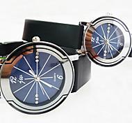 Недорогие -круглый алмаз циферблат пластиковый ремешок просто кварцевые часы пары (разных цветов)