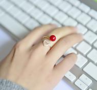 abordables -Femme Acrylique Strass Alliage Cœur Anneau de bande - Cœur Amour Cœur Ouvert Ajustable Bague Pour Mariage Soirée Quotidien Décontracté