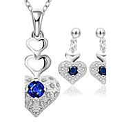 Women's Stud Earrings Necklace Rhinestone Fashion Wedding Daily Casual Office & Career Silver Plated Drop