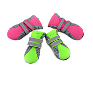 cheap -Cat Dog Boots / Shoes Waterproof Solid Green Pink For Pets