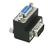 baratos -RS232 DB9 9 pinos macho para fêmea adaptador adaptador conversor de 90 graus