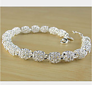 Lucky Doll Women's All Matching 925 Silver Plated Cut Out Chain Bracelet