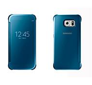 Para Funda Samsung Galaxy Carcasa Funda con Ventana Activado / Apagado Automático Espejo Flip Cuerpo Entero Funda Un Color Dura