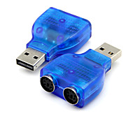 cheap -USB 2.0 to PS2 PS/2 Converter Adapter Connector for PC Mouse Keyboard Blue