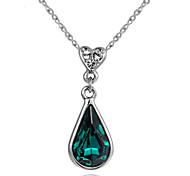 Недорогие -Женский Ожерелья с подвесками Кристалл Имитация Emerald Сплав В форме сердца Свисающие Сердце Лиловый Красный Зеленый Синий Бижутерия