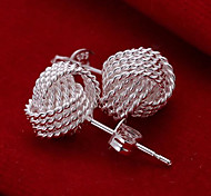 Sterling Silver Earring Stud Earrings Wedding/Party/Daily 2pcs