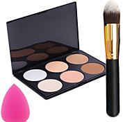 Pro Party 6 Colors Face Bronzing Powder Makeup Palette + Powder Brush+Power Puff