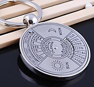 Stainless Steel English Perpetual Calendar Key Chain Ring Keyring