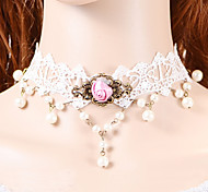 Fashion Pink Rose Pearl  Necklace Elegant Classical Feminine Style