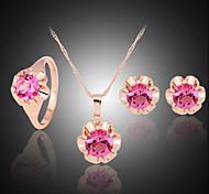 Niedlich / Party - Damen - Halskette / Ohrring / Ring (Rose Gold überzogen / Legierung / Edelstein & Kristall / Zirkonia)