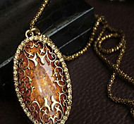 cheap -Women's Imitation Diamond Amber Pendant Necklace - Luxury Fashion Screen Color Necklace For