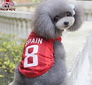 Cat Dog Shirt / T-Shirt Jersey Dog Clothes Cosplay Wedding Letter & Number Red Costume For Pets