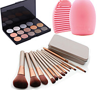 12Pcs Cosmetic Makeup Tool Blush Foundation Brush Set Box +15Colors Shimmer Eyeshadow Palette+1PCS Brush Cleaning Tool