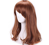 Brown Fashion Wavy Curly Sex Products Pelucas Natual Realistic Wig Cosplay Wigs Cheap Synthetic Hair Wig Bangs