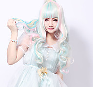 Women Synthetic Wig Long Wavy Pink Highlighted/Balayage Hair Middle Part Layered Haircut With Bangs With Ponytail Halloween Wig Carnival