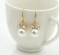 Women's Stud Earrings Drop Earrings Crystal Fashion European Costume Jewelry Pearl Imitation Pearl Rhinestone Gold Plated 18K gold
