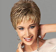 Women Synthetic Wig Short Wavy Blonde Side Part With Bangs Natural Wigs Costume Wig