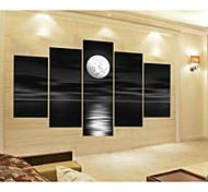 Недорогие -Ручная роспись Абстракция Любая форма,Modern 5 панелей Холст Hang-роспись маслом For Украшение дома