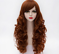 мода долго слоистые естественные волнистые волосы сторона взрыва оранжевый&коричневый синтетический европейская Лолита парик женщин