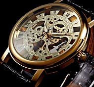 WINNER® Men's Semi-Mechanical Manual Winding Gold Skeleton Watch PU Leather Strap Cool Watch Unique Watch
