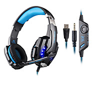 cheap -KOTION EACH Over Ear Headband Wired Headphones Plastic Gaming Earphone with Volume Control with Microphone Noise-isolating Luminous
