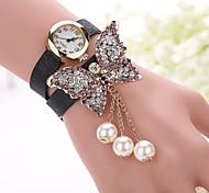 Butterfly Leather Bracelet Watch Relojes Mujer Women Rhinestones Watch Fashion Woman Quartz Watch relogio feminino Watches Unique Watches Strap Watch