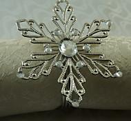 12 шт / комплект 1.77 дюймовый металлический снежинка салфетка кольцо столовая посуда