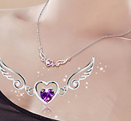 Women's Pendant Necklaces Heart Wings / Feather Sterling Silver Love Bridal Costume Jewelry Jewelry For Wedding Party Gift Daily Casual