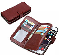 For iPhone 7 Plus DE JI Wallet PU Leather Case For iPhone 6s 6 Plus with 9 Card Slots