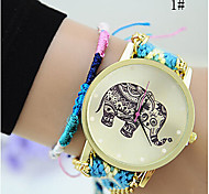 cheap -Fashion Women Girl Handmade Weaved Braided Elephant Bracelet Dial Quarzt Watch Cool Watches Unique Watches