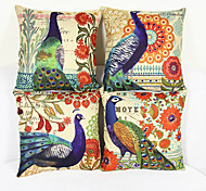 cheap -4 pcs Linen Pillow Case, Animal Print Graphic Prints Nature Euro Accent/Decorative Traditional/Classic Office/Business Modern/Contemporary