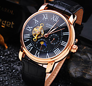 cheap -Men's Automatic self-winding Mechanical Watch Wrist Watch Water Resistant / Water Proof Hollow Engraving Leather Band Luxury Black Brown