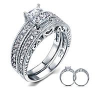 Недорогие -Кольца для пар Стерлинговое серебро Цирконий Перья Круглой формы Elegant Бижутерия Свадьба Для вечеринок Повседневные 2 шт.