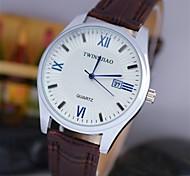 preiswerte -Herrn Quartz Armbanduhr Kalender Leder Band Charme Schwarz Braun