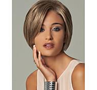 Women's Fashionable Short Dark Brown Blonde Mixed color Wig with Side Bang