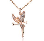 Feminino Colares com Pendentes Cristal Asas / Penas imitação de diamante Liga Prata Ouro Rose Jóias Para