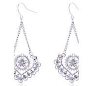 cheap -Women's Flower Heart Crystal Drop Earrings - Heart Silver Earrings For Party Daily Casual