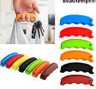 Недорогие -1шт многофункциональный силиконовые сумка ручка продуктовый носитель держатель с брелок отверстие (случайный цвет