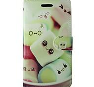 dessin animé motif de bonbons carré PU cas flip en cuir avec rabat magnétique et lecteur de carte pour iPhone 5 / 5s