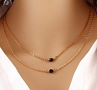 Wholesale Women Necklace European Style Rhinestone Alloy Layered Chain Necklace
