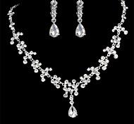 Women's Alloy Silver Crystal Neclace & Earrings Jewelry Set for Wedding Party