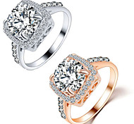 Men's Women's Couple Rings Crystal Love Fashion Crystal Alloy Square Geometric Jewelry For Wedding Party Gift Daily Valentine