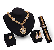 Jewelry Set Vintage Cute Party Work Casual Link/Chain Statement Jewelry Fashion Cubic Zirconia Gold Plated 18K gold Alloy Bracelet