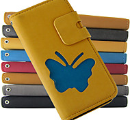 For iPhone 5 Case Wallet / with Stand / Flip Case Full Body Case Butterfly Hard PU Leather iPhone SE/5s/5