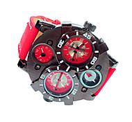 Недорогие -JUBAOLI Муж. Наручные часы Армейские часы Кварцевый Календарь Кожа Группа Черный Синий Красный Коричневый Темно-синий