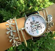 Недорогие -Жен. Кварцевый Часы-браслет Секундомер PU Группа Мода Черный Белый Зеленый